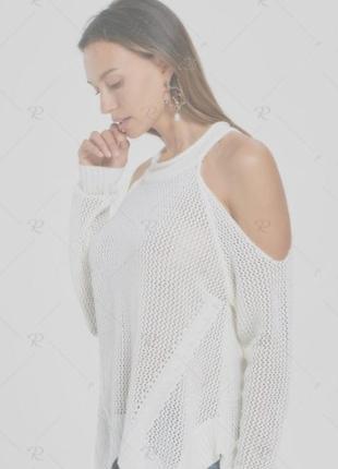 Белая кофта джемпер с открытыми спущенными плечами anthology б...
