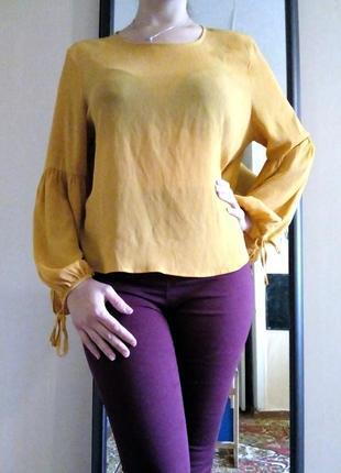 Шифоновая блуза горчичного цвета свободного кроя, рукав-фонарик