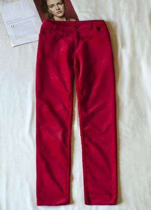 Обалденные красные велюровые замшевые брюки штаны manor, разме...