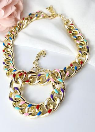 Набор браслет и цепь  массивного плетения с разноцветной эмалью