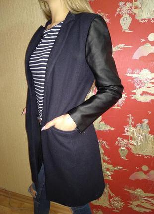 Шерстяное пальто кардиган с кожаными рукавами р.8 river island