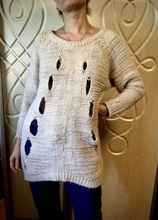 Свитер оверсайз, свитер длинный, свитер туника