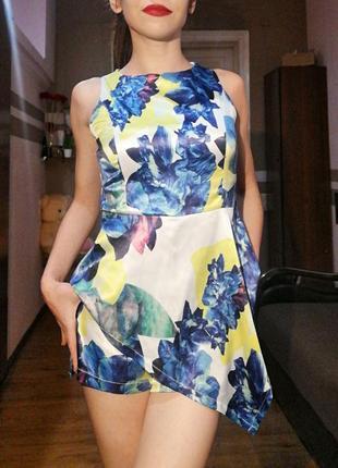 Яркий комбинезон юбка/шорты nadasha принт цветы