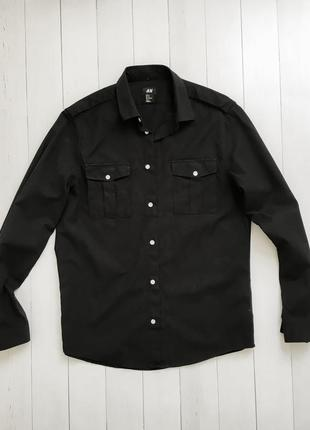 Мужская базовая черная рубашка от известного бренда h&m, hm.