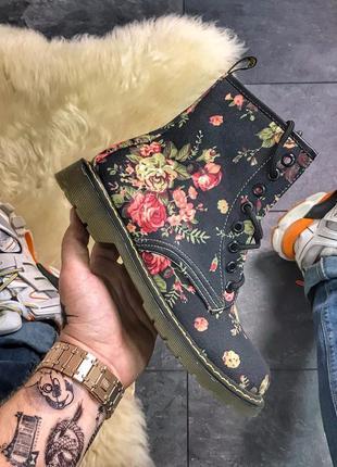 Женские ботинки  black flower (осень/весна)