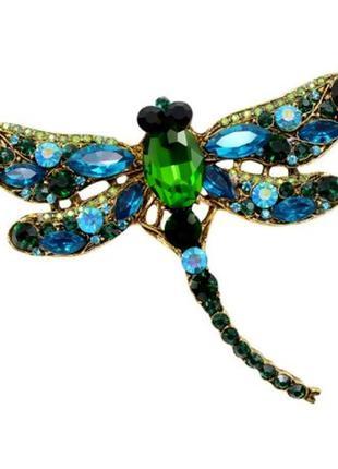 Брошь женская стрекоза модная бижутерия красивые броши
