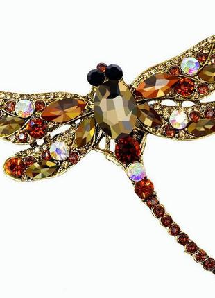 Брошь женская стрекоза красивая бижутерия модные броши