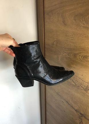 💫zara cowboy ботинки ankle с острым носком / ковбойские женские б