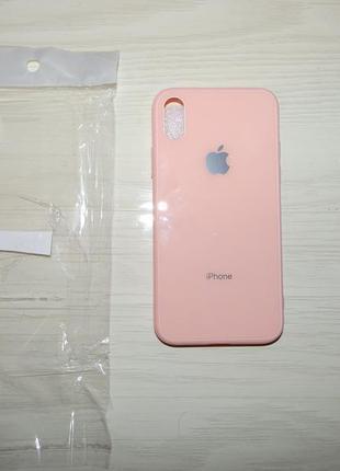 Чехол для iphone x/xs glass pastel color logo pink
