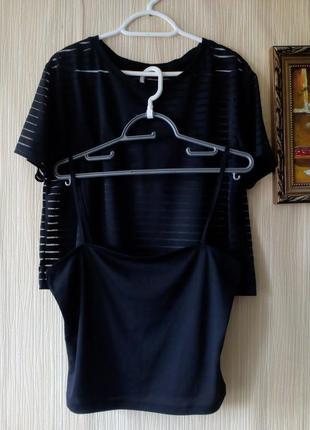 Два черных кроп топа в одном: майка+футболка