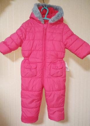 Комбинезон детский зимний стеганый розовый для девочки motherc...