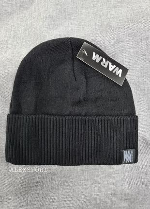 Шапка мужская чёрная на флисе осень зима,  шапка с подворотом,...