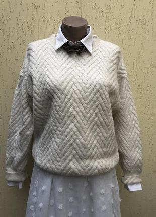 Винтаж,вязаная,фактурная,шерсть,теплая кофта,свитер в косы,ита...