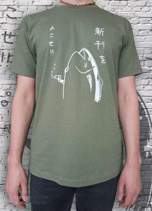 Мужская футболка с уникальным принтом оливковый