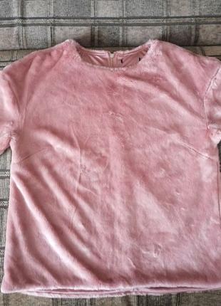 Меховой розовый свитшот