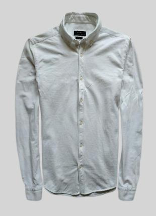 Стильная рубашка zara slim fit из плотного хлопка