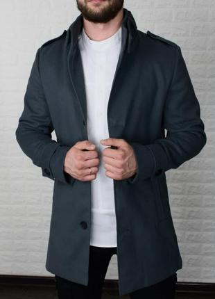 Пальто мужское утепленное кашемир серое / пальто чоловіче...