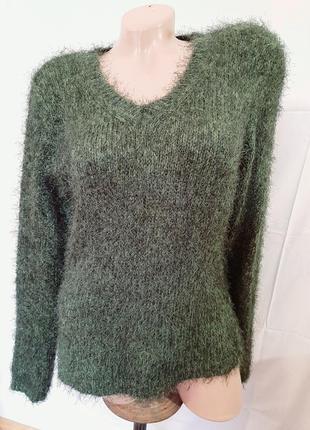 Зеленый изумрудный джемпер пушистый травка шерсть мохер