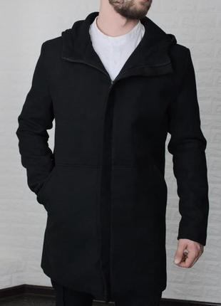 Пальто мужское с капюшоном кашемир черное / пальто чоловіче...