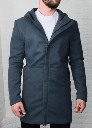 Пальто мужское с капюшоном кашемир серое / пальто чоловіче...