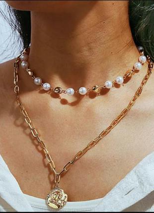 Тренд! ожерелье, чокер многослойное/ жемчуг/специальная цена
