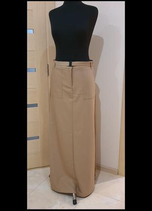 Mango, юбка, бежевая, размер 50/52