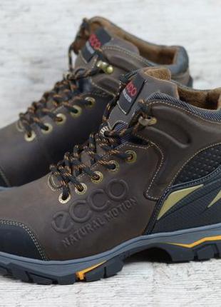 Мужские кожаные зимние ботинки/кроссовки Ecco