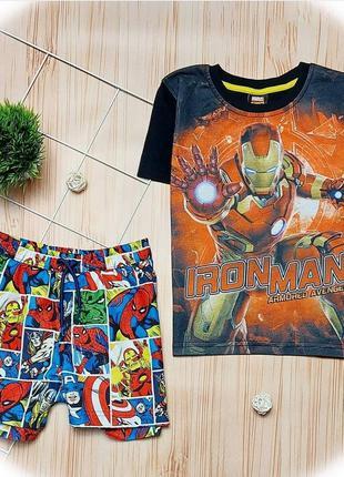 Набор, комплект, marvel, шорты, футболка