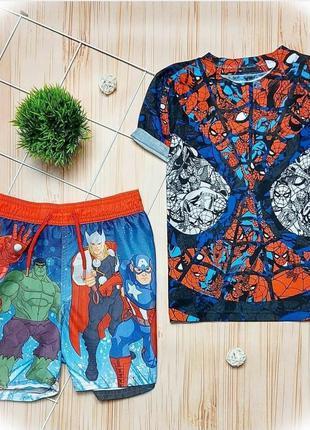 Набор marvel, шорты, футболка, комплект, шорти, марвел