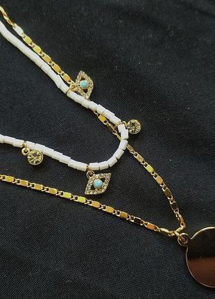 Многоуровневое колье-цепочка золотистое/золотое