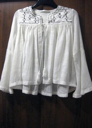Пончо накидка блузка белая вышивка бисер рукав клёш вышиванка ...