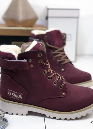 Зимние нубуковые ботинки на низком ходу,тёплые ботинки на низк...