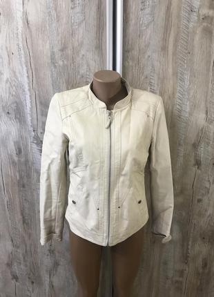 Куртка кожаная кожзам светлая белая бежевая vero moda