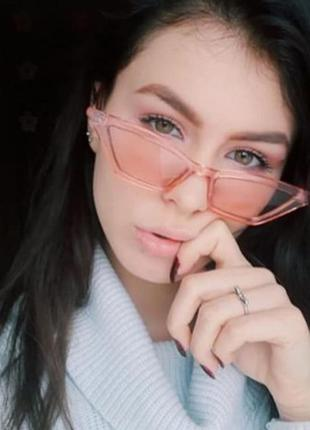 Ретро очки кошечки с розовой прозрачной оправой