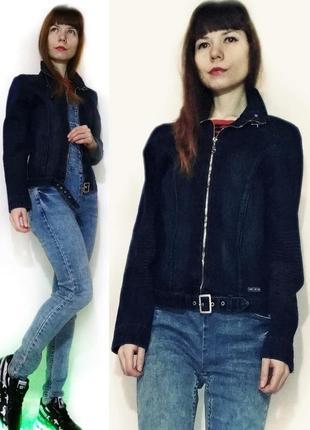 Пиджак джинсовый темно синий на молнии джинсовая куртка