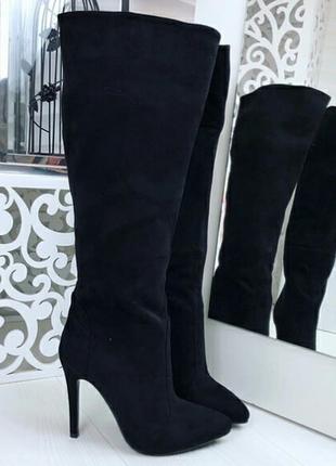 Демисезонные высокие сапоги 38 размера на каблуке, шпильке