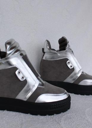 Демисезонные ботинки, сникерсы 38,размера на танкетке, платформе
