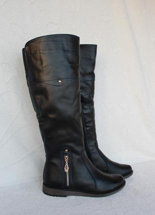 Зимние кожаные сапожки, сапоги 36, 37 размера на низком ходу