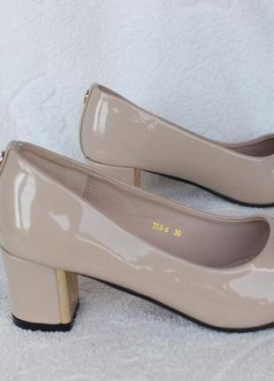 Бежевые, пудровые туфли на удобном каблуке 35, 36 размера