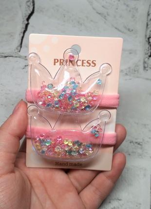 Резинки для волос детские, Короны, розовые