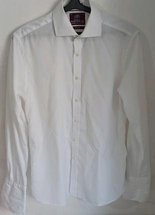 Мужская рубашка белая с запанками SARTORIAL