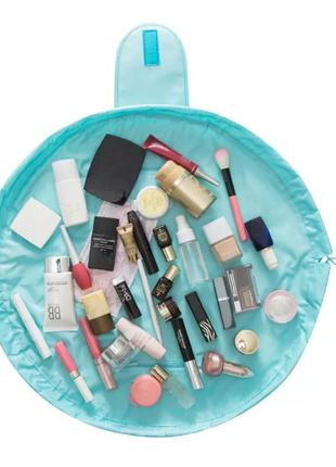 Ленивая косметичка (бирюзовая), travel pouch, круглая сумка, п...