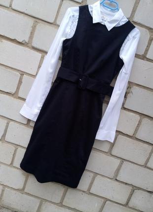 Стильные офисное платье миди с широким поясом раз.xs-s