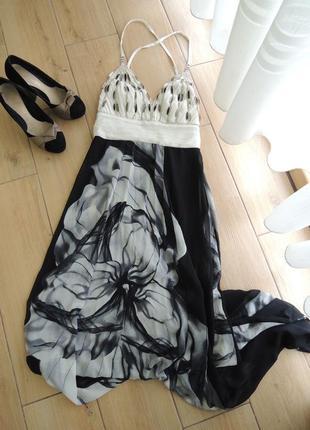 Длинное вечернее шифоновое платье с открытой спиной размер м
