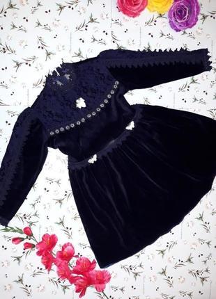 Идеальное велюровое платье на девочку 6 - 7 лет
