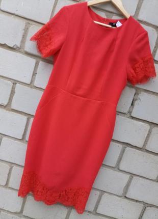 Шикарное платье миди с кружевом раз. м-l