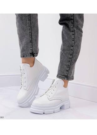 Сапоги ботинки натуральная кожа белый на высокой подошве тренд