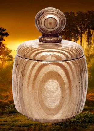 Круглая банка с крышкой из дерева для сыпучих продуктов, ручна...