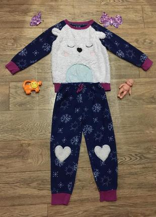 Флисовая пижама\домашний костюм с пушистым мишкой и  принт в с...