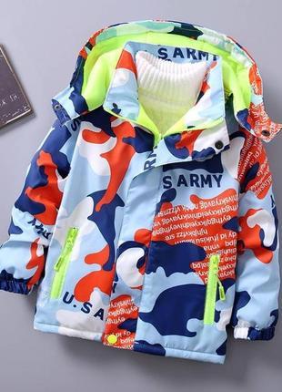 Зимняя детская куртка на флисе оранж